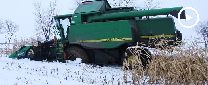 Styczniowe dokaszanie kukurydzy i wtopa John Deere WTS 9560i - VIDEO