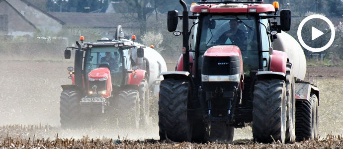 Massey Ferguson 7726 i Case IH Puma 170 + Pichon rozlewają gnojowicę - VIDEO