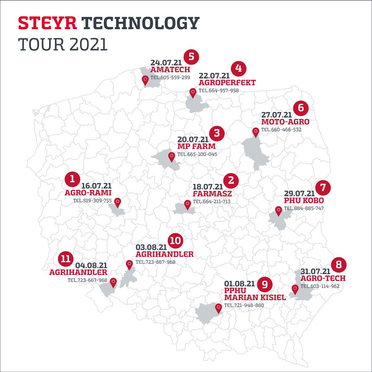 Steyr Demo Tour 2021 mapa Europejski Technology Tour 2021 marki STEYR rusza w Polskę